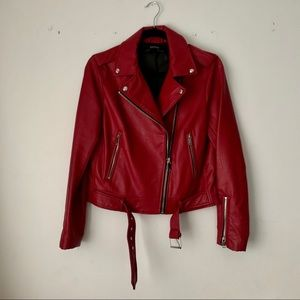 Zara | red moto style leather jacket